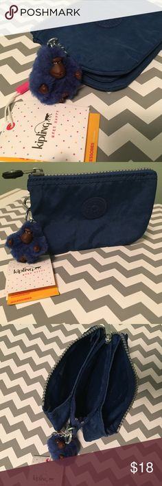 NWT Kipling Creativity S Pouch in Cobalt Blue NWT Kipling Creativity Small Pouch in Cobalt Blue. Zipped closure to main compartment with three gussets, including one zipped compartment and zippered internal pocket. Material is water resistant crinkle nylon that's handy to clean. Also has an adorable Kipling blue monkey key ring attached. No stains, tears or snags. Comes from a smoke-free home. 💰Get 30% off if you bundle this with another item from my closet!!!💰 Kipling Accessories
