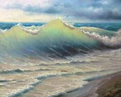 "197 11""x14"" Gallery Wrap Canvas Giclee Print Seascape Black Sea Stormy Surf 