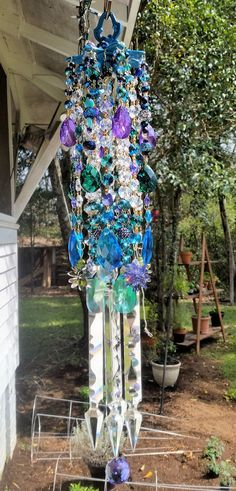 Aqua and Purple Crystal Wind Chime Peacock by sheriscrystals