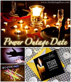 Bring the light to a date in the dark! This power outage date is full activities to do withOUT electricity! www.TheDatingDivas.com #dateideas #creativedates #datenight