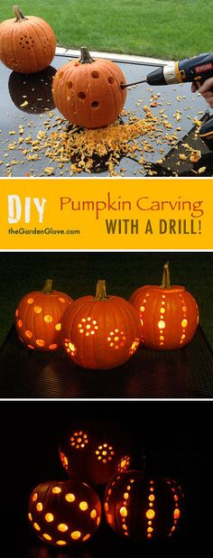 pumpkin carving with power drill, halloween decorations, seasonal holiday decor…