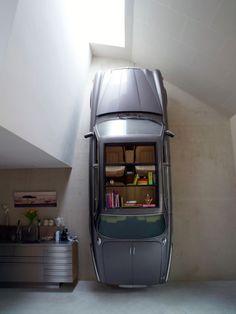 """car = shelving"" by Denieuwegeneratie in their latest creation, the Dutch Mountain."