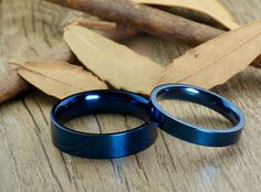 Handmade Blue Flat Plain Matching Wedding Bands, Couple Rings Set, Titanium Rings Set, Anniversary Rings Set