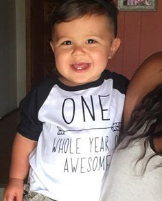 1st Birthday Boy Shirt, One Whole Year of Awesome - This first birthday shirt is perfect for your little one's birthday party or all year round! We at Bump and