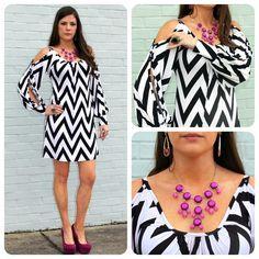 chevron dress with jcrew style bubble necklace