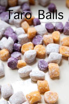 How to make authentic Taiwanese taro balls at home Taro Recipes, Raw Food Recipes, Dessert Recipes, Cooking Recipes, Asian Recipes, Asian Snacks, Asian Desserts, Sweet Desserts, Chinese Desserts