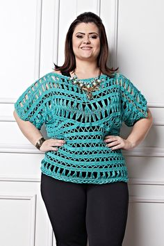 Plus Size Crochet Blouse Turquoise Lace Blouse Lace by MakeItToMe Hairpin Lace Crochet, Crochet Lace Edging, Crochet Tunic, Crochet Clothes, Crochet Top, Plus Size Womens Clothing, Plus Size Outfits, Macrame Dress, Crochet Tank Tops