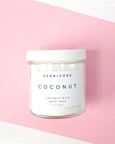 """Coconut Milk Bath Soak. """"All organic skin-softening  coconut milk is the basis of this luxurious and indulgent bath soak. Perfect for hydrating and softening skin, this bath soak will leave your skin silky soft and smelling of coconut and natural vanilla."""" No animal testing."""