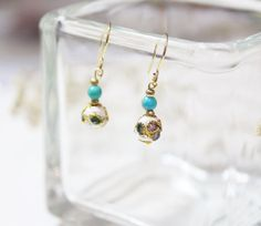 Little White Flower - Taiwan Chinese Cloisonné Craftsmanship Earrings