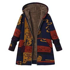 3e77fad430d8a Printed Hooded Pockets Coats For Women - Newchic Plus Size Outerwear Mobile