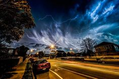 Photographer captures stunning images of rare, violent electrical storm in Christchurch, New Zealand.