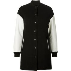 Black and white virgin wool blend and leather bomber-style coat from T By Alexander Wang featuring a ribbed stand up collar, a snap fastening, side pockets, lo…