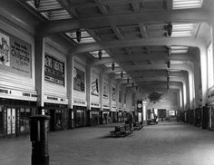 1950s view of the North Concourse of Leeds City Station which had opened in the 1930s, the work of architects William Curtis Green and W H Hamlyn. It was for many years used as a car park . Leeds, Archive, Shops, Google Search, Tents, Retail Stores