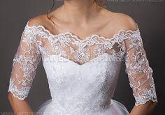 Oberteil Bolero aus Spitze für Hochzeit Brautkleid Creme Weiss