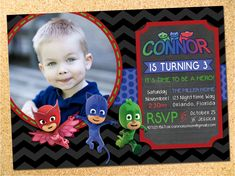 PJ Masks Inspired Birthday Party Photo Invitation - Customizable - Printable - DIY by Owen & Sally Designs