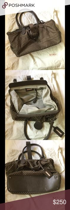 🌴💯 Marni luxury  polkadots handbag 🌴 🌴💯Authentic luxury Marni Handbag genuine high quality leather in beautiful color brown with off white polkadots this is a very casual look with luxury, matching anything from your wardrobe, I love this handbag is very light weight, I'm not even sure if want to sale this handbag has no flaws, is gently worn clean outside and inside come with original dust bag dimension are L X 13 W X 20 bottom Width 5 1/2 ask me questions price is is negotiable 🌴…