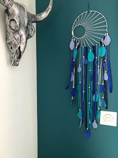 Catch dreams Dreamcatcher weaving Black Sun turquoise teal and Royal Blue Diy Dream Catcher For Kids, Dream Catchers, Juju Hat, Diy Wind Chimes, Turquoise, Metallic Paint, Wooden Beads, Weaving, Etsy