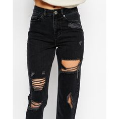 ASOS Original Mom Jeans in Washed Black with Extreme Rips and Busts (€30) ❤ liked on Polyvore featuring jeans, pants, bottoms, calças, torn jeans, asos skinny jeans, destroyed skinny jeans, torn skinny jeans and ripped jeans