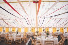 Ribbon Decor Bunting Colourful Country Farm Marquee Wedding http://www.hannahmilesphotography.com/