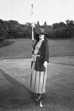 Chanel pictured playing golf in a rare early photograph.