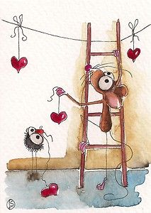 Crow helps Mousie hang the Valentines hearts... love is definitely in the air...