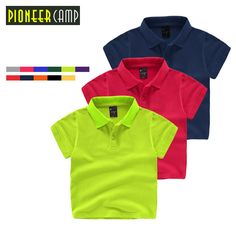 Pioneer Camp Kids 3-10Y 100% Cotton Kids Boys Polo Shirt Baby Boy Girl Clothes Summer Short Sleeve Cotton Solid Polo For Baby