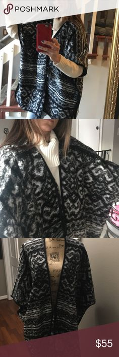 NWT Lucky heavy shawl/ poncho Warm and blankety soft Lucky Brand poncho with front tie with fringy tassels on the ends, one size fits all. This is a great piece and I'm offering it at a great price. I have 2 available Lucky Brand Sweaters Shrugs & Ponchos