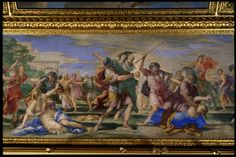 Détail du plafond de l'ancien Grand Cabinet de l'appartement d'été de la Reine Anne d'Autriche : L'Enlèvement des Sabines par Giovanni Francesco Romanelli. - от Musée du Louvre.