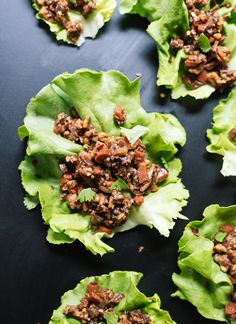 Pin for Later: 23 Lettuce Wrap Recipes, Because Sometimes You Just Don't Want Bread Vegetarian Thai-Style Lettuce Wraps Get the recipe: vegetarian Thai-style lettuce wraps Vegetarian Lettuce Wraps, Lettuce Wrap Recipes, Salad Recipes, Vegetarian Salad, Vegetarian Recipes, Cooking Recipes, Healthy Recipes, Healthy Meals, Healthy Food