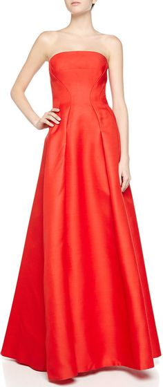 $2,450, Strapless Gazaar Bustier Gown Siren Red by J. Mendel. Sold by Neiman Marcus. Click for more info: http://lookastic.com/women/shop_items/144308/redirect