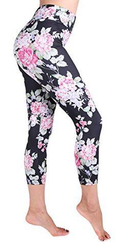 36113a808b518 Ndoobiy High Waist Printed Leggings Women's Solid Leggings Soft Yoga  Workout Pants Stretchy Capris at Amazon