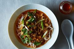 Sichuan Dan-Dan Noodles - I don't do the pork part. I use the chicken from the Bon Bon chicken recipe. Sub tahini for peanut butter, add up to 2 T Chinkiang black vinegar and use less stock (I like it less soupy). Pour the sauce over the chicken first. Make chili oil a day early (or more). Sourcing Douban chili paste: http://themalaproject.com/pixian-chili-bean-paste-douban-jiang/
