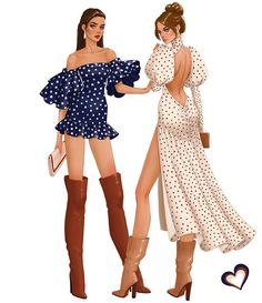 Boots and polka dots.same idea, different looks. Dress Design Sketches, Fashion Design Sketchbook, Fashion Design Drawings, Vintage Fashion Sketches, Look Fashion, Fashion Art, Fashion Models, Fashion Outfits, Fashion Clothes