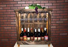 24 Bottle Wine Cabinet With 18 Glass Holder by DelightedHome.com #winerack #madeinusa