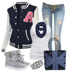 Black and white cardigan, white blouse, ripped jeans, warm shoes and heart handbag for fall Trendy Summer Outfits, Pretty Outfits, Stylish Outfits, Cool Outfits, Pretty Clothes, Black And White Cardigans, Preppy Look, Stylish Plus, Rockabilly Fashion
