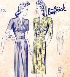 Vintage 1940s dress sewing pattern Butterick by glassoffashion