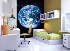 Art Deco Wall Mural (5x7.6 feet) with Paste (Planet Earth space style feature)
