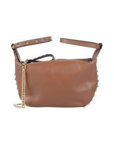 Leather Studs Solid color Zip Internal zip pocket Double handle Removable shoulder strap Metallic straps Fully lined Mini Contains non-textile parts of animal origin Ash, Shoulder Strap, Studs, Brown, Mini, Leather, Metallic, Handle, Pocket