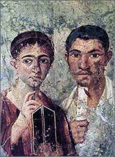 Priscilla (Prisca) and Aquila, from an old Roman mural