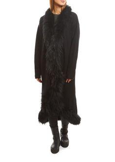 Dom Goor Black Long Cardigan With Fur Trim - Jessimara