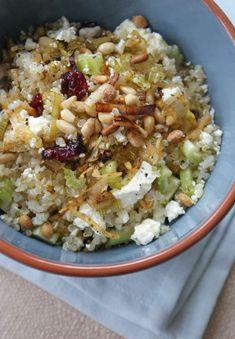 Quinoa & Leek Salad with feta and dried cranberries.  Yum :)