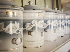 vintage french enamelware café canister white grey. 229.