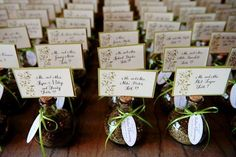 place cards and favors - Tuscan theme with Italian spices