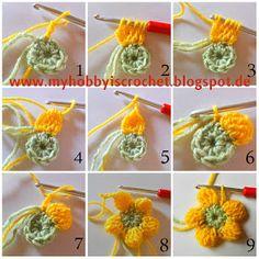 My Hobby Is Crochet: Crochet Dahlia Flower- Free Pattern with Phototutorial ༺✿Teresa Restegui http://www.pinterest.com/teretegui/✿༻
