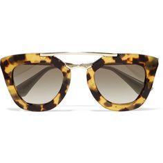 Prada D-frame acetate and gold-tone sunglasses (€325) ❤ liked on Polyvore featuring accessories, eyewear, sunglasses, glasses, lunettes, tortoiseshell, uv protection sunglasses, rounded sunglasses, retro round glasses and retro style sunglasses