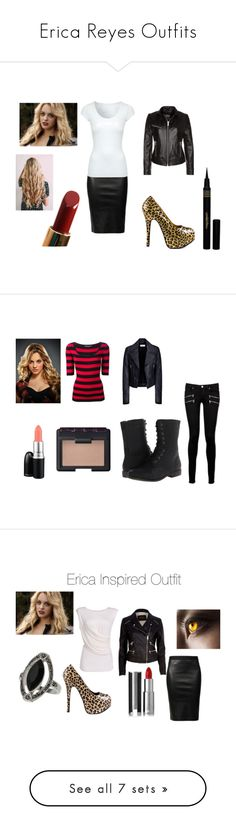 """""""Erica Reyes Outfits"""" by lee-turnup ❤ liked on Polyvore featuring beauty, Helmut Lang, Viva Bordello, Jane Norman, ENSO ART, Reyes, Estée Lauder, Napoleon Perdis, Dolce&Gabbana and Balenciaga"""