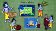 Birthday Decorations, Birthday Party Themes, Boy Birthday, Birthday Invitations, Little Krishna, Baby Krishna, Krishna Birthday, Janmashtami Decoration, Party Poster