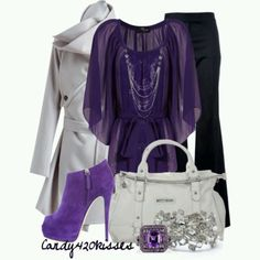 """Now the shoes. Well I can hear my 5 yr old grand daughter tell me """" No Ma you can't waer those shoes"""" LOL :-) Purple Outfits, Dressy Outfits, Mode Outfits, Chic Outfits, Fashion Outfits, Womens Fashion, Fashion Trends, Purple Fashion, Look Fashion"""