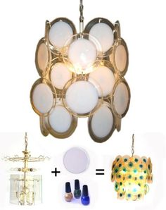 YOU MUST READ ABOUT THIS LIGHTING FIXTURE.  But worth reading just for what she tell you about NAIL POLISH! Top 10 DIY Recycled Projects