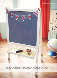 This IKEA easel was trashed by my so I gave it a complete makeover with Mod Podge clear chalkboard topcoat. You'll love how easy this is! Ikea Easel, Diy Easel, Diy Home Decor Projects, Decor Crafts, Decor Ideas, Diy Ideas, Craft Projects, Craft Ideas, Diy Crafts